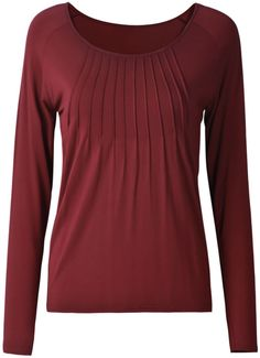 Dark Red Round Neck Long Sleeve Ruched Basic Top