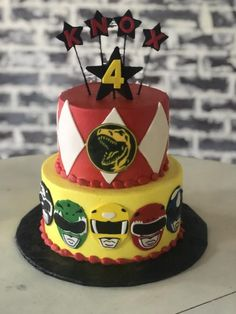 Power Rangers Cake, Fondant, Cake topper Gateau Power Rangers, Bolo Power Rangers, Power Rangers Birthday Cake, Power Ranger Cake, Pawer Rangers, Power Ranger Party, Dinosaur Birthday Party, 4th Birthday Parties, Boy Birthday