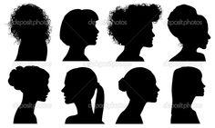 Лицо женщины профиль Векторный силуэт — стоковая иллюстрация #34082399