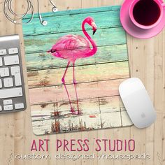 Pink Flamingo on Distressed Wood Mouse Pad, Beachy Mouse Pad, Topical Mouse Pad, Neon Pink, Flamingo Flamingo Painting, Flamingo Decor, Pink Flamingos, Pallet Painting, Pallet Art, Painting On Wood, Small Closet Design, Fire Art, Diy Canvas Art
