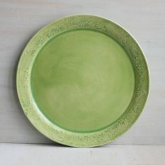 Serving Platter in Lime Green Glaze Handmade Ceramic by sheilasart, $65.00