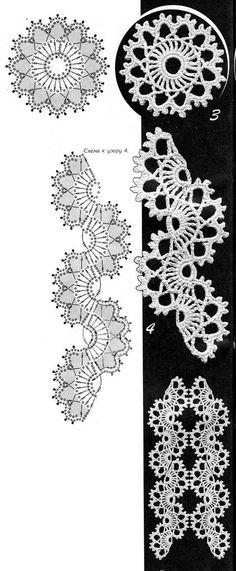 Edgings with Crochet Lace Tape ~~ Duplet ~~ http://crochet-plaisir.over-blog.com/article-echarpes-et-leurs-grilles-gratuites-au-crochet-109883311.html