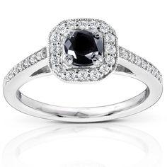 Annello 14k Gold 3/4ct TDW Black and Round Diamond Halo Ring