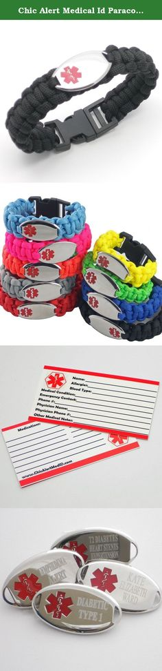 """Chic Alert Medical Id Paracord Medical Id Bracelet - Engraving Included!! (8"""", Black). Stay Safe and Protected in Style! ENGRAVING INCLUDED!! Once your order has been placed. We will contact you electronically to request the information you would like engraved on your Medical ID. Engraving Allows for 3 Lines at 14 Characters, including spaces...per line. All Caps / Laser Engraving. Fun and Functional, these Para cord Knotted ID Bracelets are perfect for any Medical Emergency and for any…"""