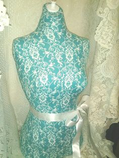 Teal Damask Dress Form jewelry display with by reminiscejewels