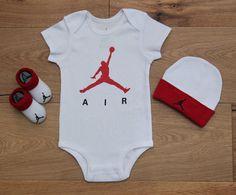 Air Jordan Baby Boy 3 Piece Hat, Bodysuit & Booties Set~White, Red & Black~0-6M #Jordan #BabyBoy #Jumpman