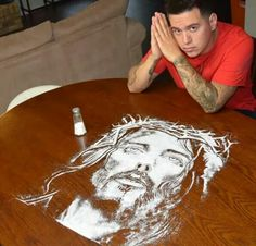 Salt of the earth. Jesus Christ drawn in salt. Amazing talent