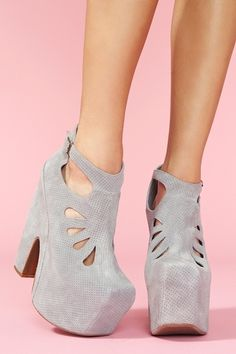 Jeffrey Campbell Grey Ankle Boots with Cut-Outs