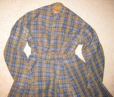 """Civil War era Original Wool Plaid Dress. $530.00, via Etsy. Six buttons on front, waist: 26"""", bodice lined with brown cotton, armscyes piped, unlined skirt, length (including waistband): 37""""; thin wool braid on bottom, bottom edge lined with cotton, 3 large box pleats in front of skirt."""