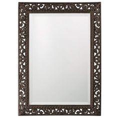 "Howard Elliott 6041 Bristol 36"" x 26"" Scroll Rectangle Mirror Black Home Decor Mirrors Lighting"