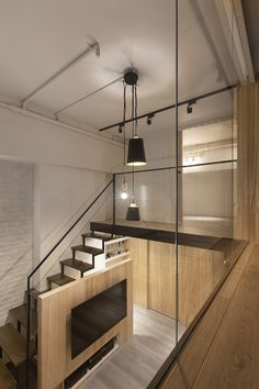 A Modern Loft with Character At night, a blend of industrial fixtures and recessed lighting work tog Character Home, Small Loft, Loft Spaces, Loft Apartments, Loft House, Contemporary Apartment, Industrial House, Industrial Lighting, Small House Design