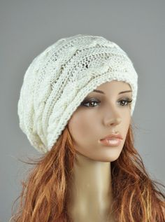 Hand knit woman hat cable pattern hat in cream 12a08deff846