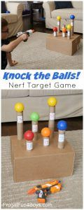 the Balls Down Nerf Target Game - Frugal Fun For Boys and Girls Knock the Balls Down Nerf Target Game - Super boredom buster, and a fun party idea too.Knock the Balls Down Nerf Target Game - Super boredom buster, and a fun party idea too. Projects For Kids, Diy For Kids, Cool Kids, Crafts For Kids, Kids Fun, Kids Boys, Summer Crafts, Birthday Ideas For Kids, Quick Crafts