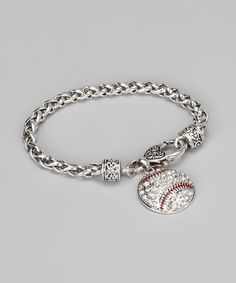 Take a look at this Silver & Crystal Baseball Bracelet by From the Heart on #zulily today!