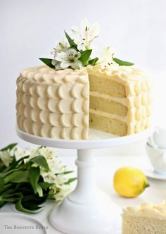 The Brunette Baker: Lemon Layer Cake with Elderflower Swiss Meringue Buttercream Chocolate Fudge Cake, Chocolate Recipes, Cupcakes, Cupcake Cakes, Lemon Wedding Cakes, Cake Baking Tins, Cake Recipes, Dessert Recipes, Delicious Desserts