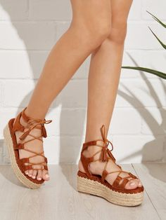 Shop Tie Leg Wedge Sandals With Tassel online. SHEIN offers Tie Leg Wedge Sandals With Tassel & more to fit your fashionable needs. Suede Sandals, Rope Sandals, Gladiator Sandals, Tassel Heels, Lace Up Heels, High Heels, Womens Shoes Wedges, Womens Flats, Shoes
