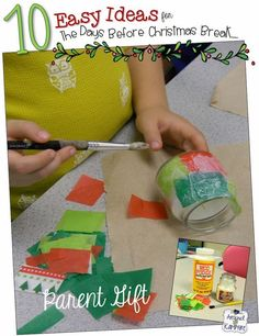 10 Easy Classroom Christmas Ideas For That Last CRaZy Week Before Break! Make this simple parent gift! Preschool Gifts, Preschool Christmas, Christmas Activities, Christmas Projects, Kids Christmas, Holiday Crafts, 2nd Grade Christmas Crafts, Preschool Activities, Student Christmas Gifts