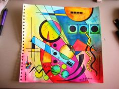 Wederom een werkstuk geïnspireerd door Kandinsky.        De schilderijen van Kandinsky zijn samengesteld uit geometrische vormen en lijnen. ...