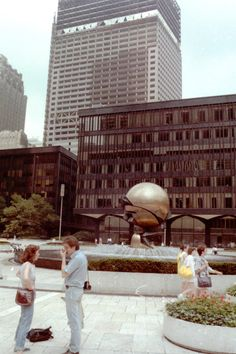 "7 World Trade Center was under construction when this photo was taken in 1986. The sculpture in the foreground, ""The Sphere,"" which symbolized world peace, was damaged during the September 11, 2001 terror attacks.  The sculpture by artist Fritz Koenig is currently in Battery Park, but will eventually be moved to a park adjacent to the new One World Trade Center. Photo courtesy of Manuel G Bermúdez Diaz"