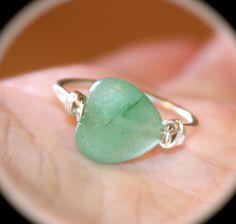 Green Jade Heart Copper Ring or Solid Sterling Silver Ring, Handmade Ring, Gemstone Ring, Toe Ring, Midi Ring by BirchBarkDesign on Etsy