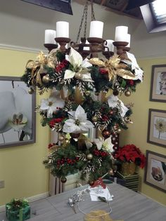 @cristinacooks flips a Christmas tree upside down to create a Holiday chandelier
