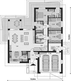 Locuință de vis cu un singur nivel, piscină și garaj pentru două mașini! | stiri.MagazinulDeCase.ro Best House Plans, Dream House Plans, House Floor Plans, Villa Plan, Village House Design, Architectural House Plans, Bungalow Exterior, Cottage Style Homes, House Blueprints