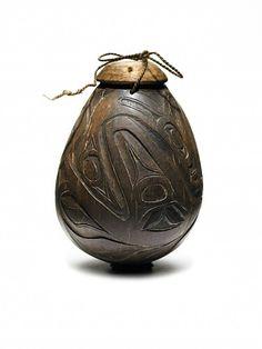 Northwest coast medicine man's tobacco box made of a carved coconut. 1870. @cargocultist