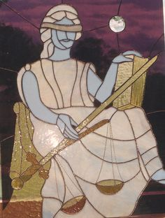 LAW~Lady Justice stain glass