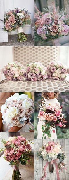 romantic dusty rose wedding bouquets ideas