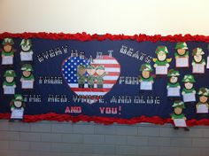 Here's my Veterans Day bulletin board - Every heart beats true for the red, white, and blue AND YOU! for my military kiddos' parents November Bulletin Boards, Summer Bulletin Boards, Church Bulletin Boards, Summer Preschool Activities, Veterans Day Activities, Art Activities, Kindergarten Fun, Preschool Class, Patriotic Posters