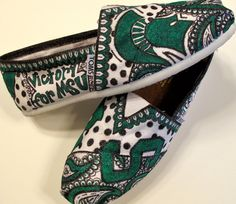 Custom Michigan State TOMS. $90.00 on Etsy.