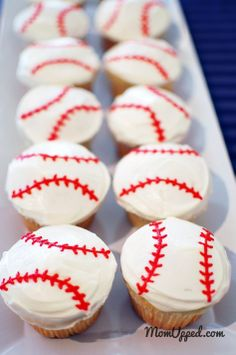 Baseball cupcakes  http://www.momupped.com/how-to-decorate-baseball-cupcakes.html