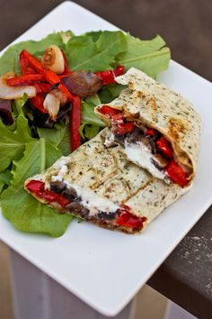 Grilled Portabella Mushroom, Roasted Red Pepper & Feta Cheese Wrap