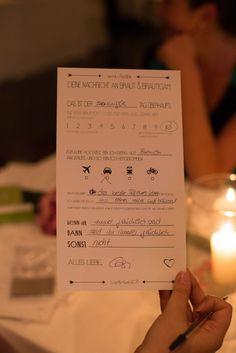 Statt Gästebuch: Ankreuzen und ausfüllen!