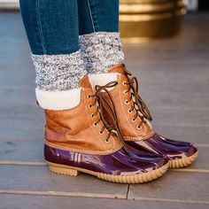 Maroon Fur Lined, Lace Up Duck Boot Rubber, Weather-Proof Sole Recommended to Order Half Size Up