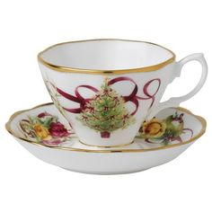 Old Country Roses Christmas Tree Tea Cup & Saucer Set / 652383741492 / NIB - $29.99