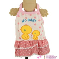 Pink Dress for Small Dog with Chicks - Dress for a small dog (Chihuahua, Maltese, Yorkshire, poodle), with polka dot fabric, decorated on the back with the emboidery of cute yellow chicks