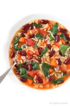 One pot. 30 Minutes. 10-ingredients. This easy Kidney Bean, Spinach, Orzo Soup is simple yet cozy and made with lots of pantry staples for an easy, healthy weeknight meal (vegan)