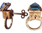 Sterling Silver Engraved Topaz Locking Poison Ring with Key on Chain