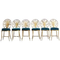Set of Six Hollywood Regency-Style Italian Gilded Chairs by S. Salvadori | From a unique collection of antique and modern dining room chairs at https://www.1stdibs.com/furniture/seating/dining-room-chairs/