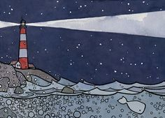Lighthouse and Whale Illustration Print 5x7 ink by studiotuesday