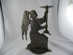 Wunderschöner Zinn Engel Kerzenleuchter Kerzenständer Leuchter Kirche Marke. Verkauft!