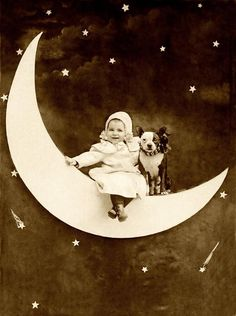 I love old paper moon photos!I,I can easily lose an hour of my life se. Antique Photos, Vintage Pictures, Vintage Photographs, Old Pictures, Vintage Images, Baby Boston Terriers, Paper Moon, Vintage Illustration, Moon Photos