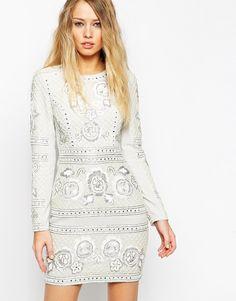Image 1 ofNeedle & Thread Embellished Lace Grid Dress