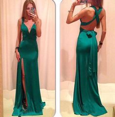 Classy Evening Dresses,V-Neck Evening Dresses,Satin Evening Dresses,Backless Evening Dresses,Long Prom Dresses