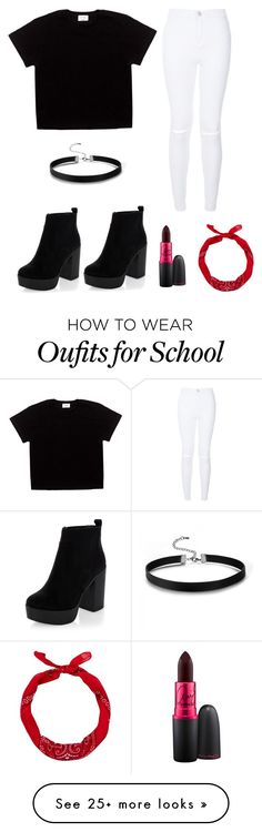 """Rock chic glam school ootd"" by itsbrianasanders on Polyvore featuring New Look and MAC Cosmetics"