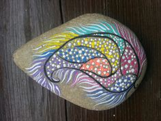 Painted rock in a unique and pretty design!!