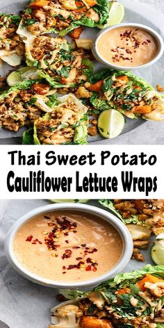 Super easy and healthy vegan thai sweet potato and cauliflower lettuce wraps! With a creamy peanut sauce these are the perfect weeknight meal! Healthy Recipes Thai Sweet Potato And Cauliflower Lettuce Wraps Veggie Recipes, Healthy Dinner Recipes, Whole Food Recipes, Vegetarian Recipes, Vegan Vegetarian, Paleo, Healthy Cooking, Healthy Eating, Healthy Food