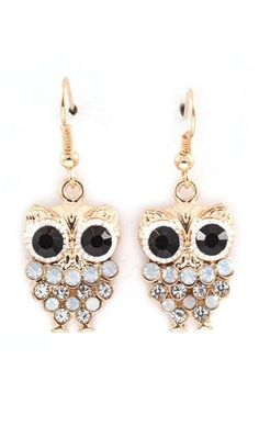 Owly Earrings in Aspen Blue Crystal