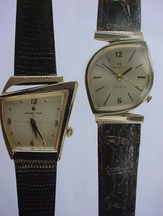 Arbib was the designer who styled the cases for the Watch of the Future. These were the world's first electric wrist watches. They were manufactured by the Hamilton Watch Company. Modern Watches, Cool Watches, Rolex Watches, Watches For Men, Wrist Watches, Antique Watches, Vintage Watches, Vintage Design, Vintage Men